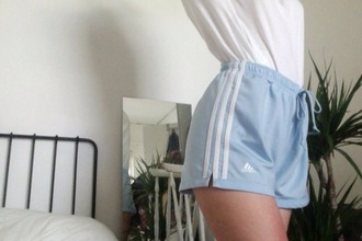 shorts style sportswear sports shorts adidas shorts adidas adidas originals summer shorts cute shorts blue shorts light blue blue white