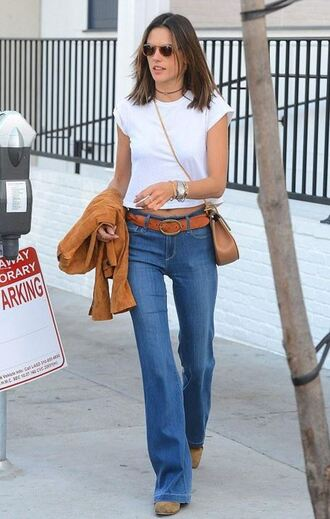 jeans top belt flare jeans alessandra ambrosio jacket