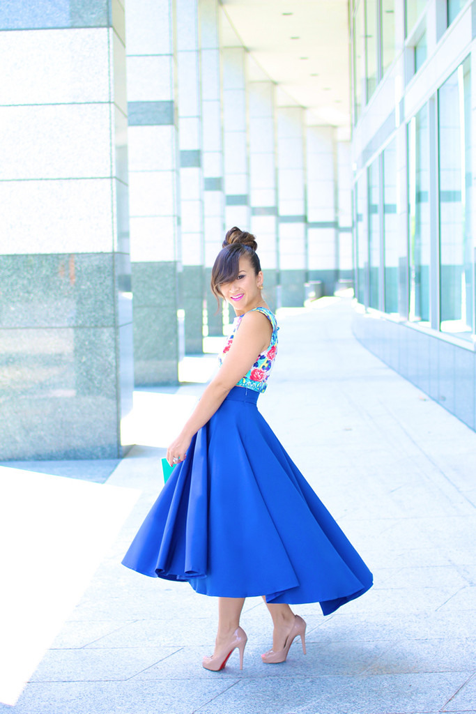 High Low Bow Skirt in Blue