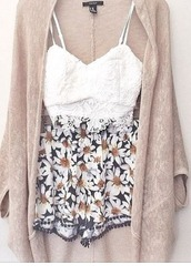 blouse,lace,crop,love heart neckline,white,spaghetti strap,flowered shorts,stone cardigan,daisy,crop tops high waisted shorts,shorts,cardigan