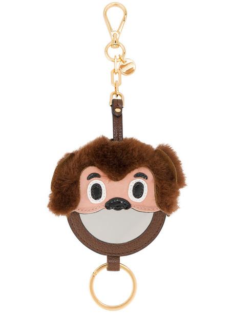 Miu Miu bag charm metal women monkey bag leather suede brown