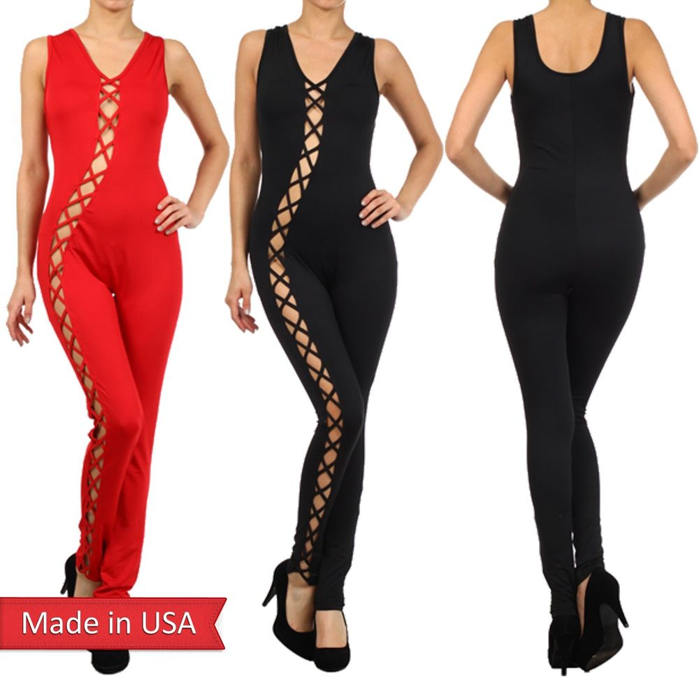New Sexy Black Red One Piece Tank Pants Jumpsuit Romper Jumper Cut Out Strap USA