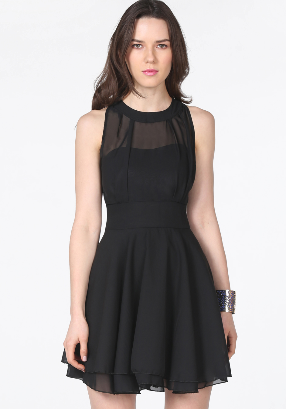 Black contrast mesh yoke backless pleated dress