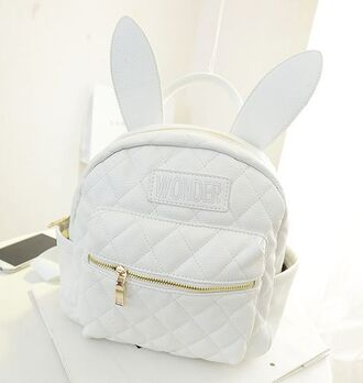 bag white quilted bag white bag white backpack backpack bunny ears