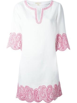 dress tunic dress embroidered women white