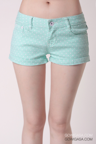 Tiny Polkadot Shorts Mint - Shop our stylish yet affordable clothing, bags and more! - GOWIGASA