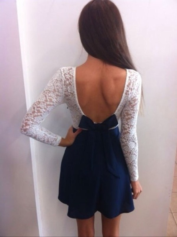 dress v cut lace dress blue
