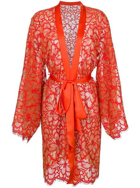 gown women scalloped lace cotton silk yellow orange dress