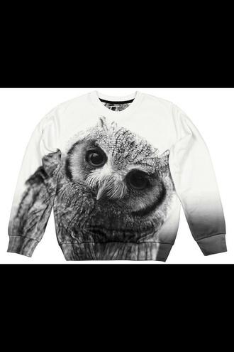 sweater black white sweater black white owl sweater owl