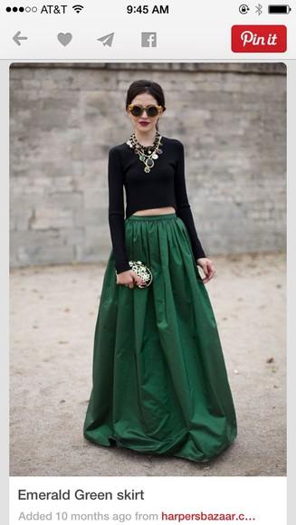 forest green maxi skirt emerald skirt classy