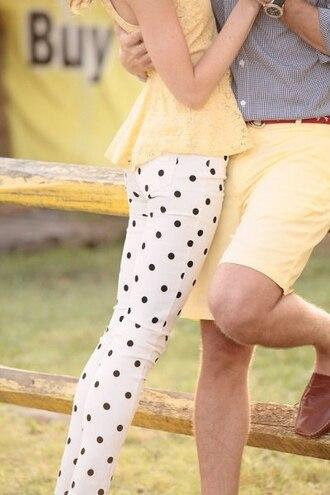 shirt yellow peplum polka dot pants butter yellow pants jeans