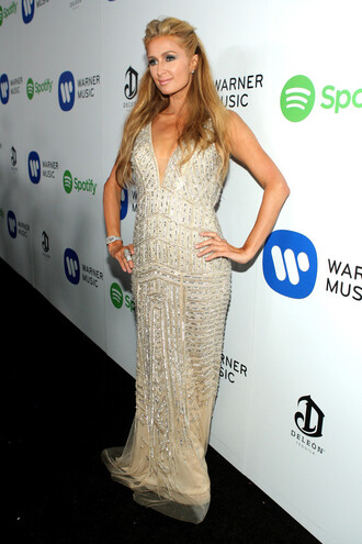 dress gown paris hilton grammys 2015 beaded dress