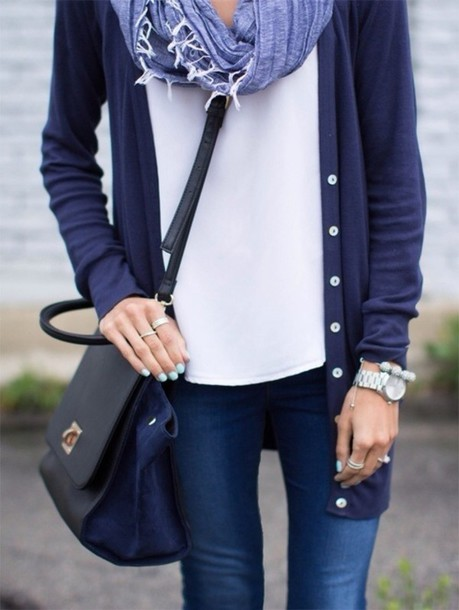 sweater bag blouse scarf