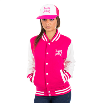 jacket cute pink girly dope white sleeves pretty girlydope sexydope girl buttons varsity sweater bang logo varsity jackets prettygirlswag
