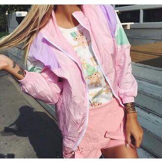 jacket pastel pastel jacket bomber jacket vintage retro pink pink jacket light pink colour block