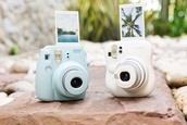 bag,polaroid camera,photography,home accessory,blue,pink,fujimax camera,jewels,baby blue polaroid camera,blue polaroid camera