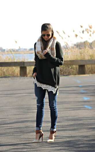 to be bright blogger jeans scarf jewels crochet heels