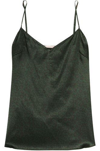 camisole print silk dark green underwear