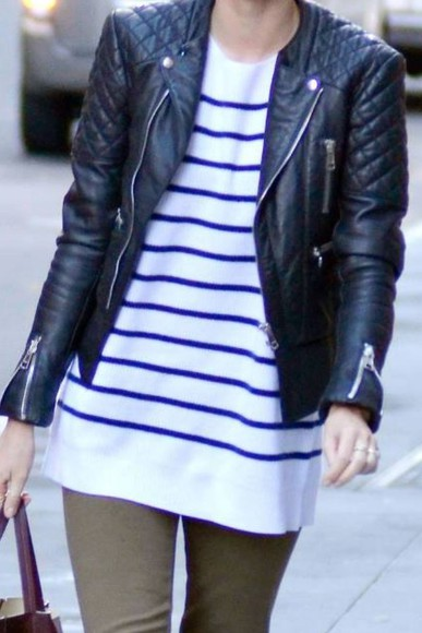 navy jacket t-shirt white shirt basic stripes striped shirt spring basics
