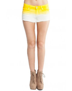 New DIP Dye Denim Shorts Color Yellow White $20 | eBay