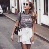 skirt,tumblr,mini skirt,white skirt,ruffle,wrap ruffle skirt,t-shirt,stripes,striped t-shirt,bag,black bag,sunglasses