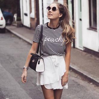 skirt tumblr mini skirt white skirt ruffle wrap ruffle skirt t-shirt stripes striped t-shirt bag black bag sunglasses