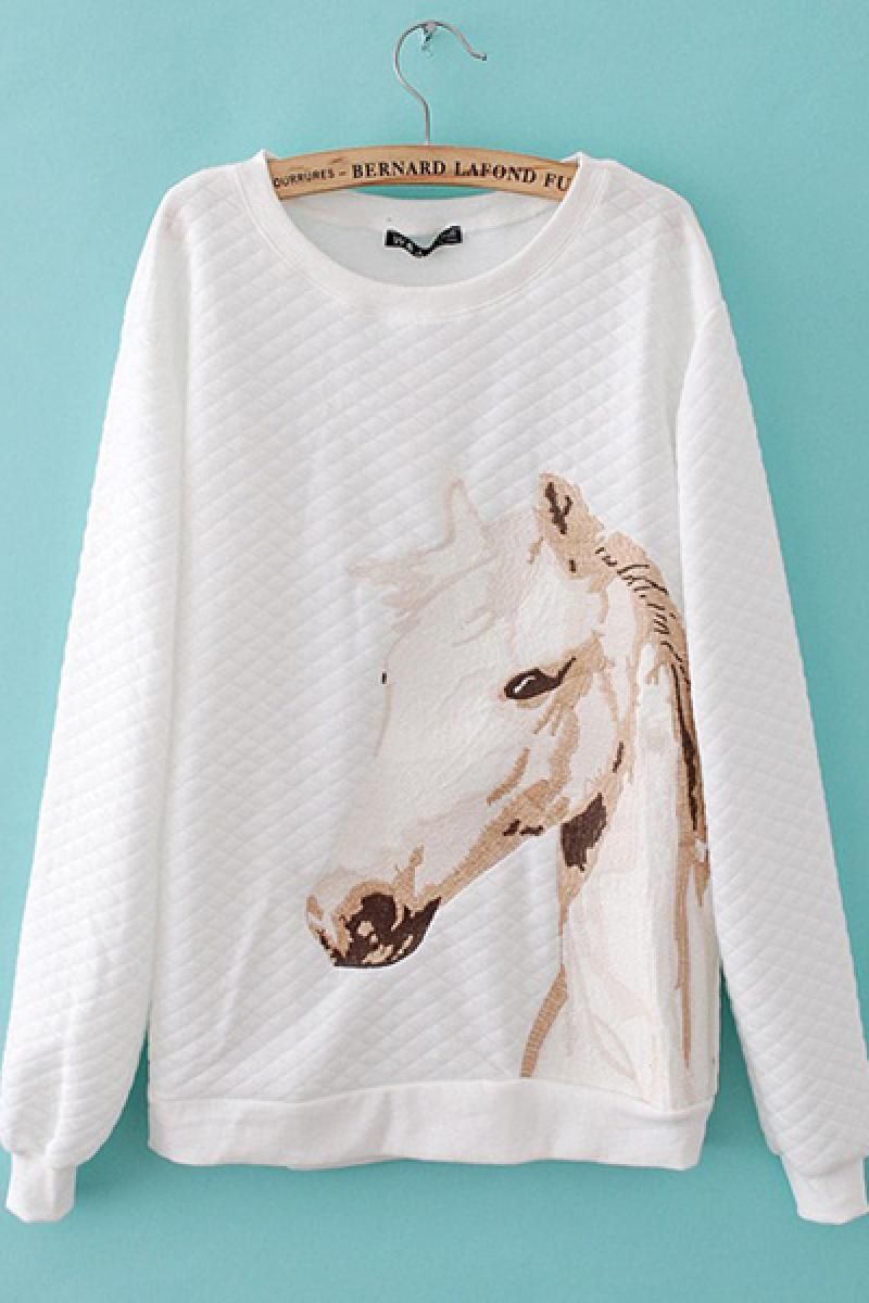2013 New Casual All-match  Embroidery Unicorn Cotton Sweater,Cheap in Wendybox.com