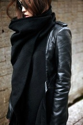 coat,black,leather,leather jacket,suede,stylish,scarf,all black everything,half leather,winter coat,fall outfits