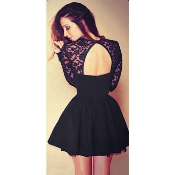 dress black sexy lace dress backless long sleeve dress party dress evening dress