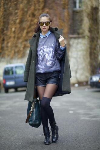 from brussels with love blogger coat sweater bag black shorts dog shorts shoes shirt