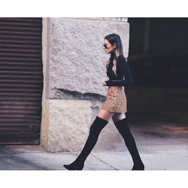 c7a28c2d4b1f shoes tumblr black boots over the knee boots high heels boots mini skirt  printed skirt top