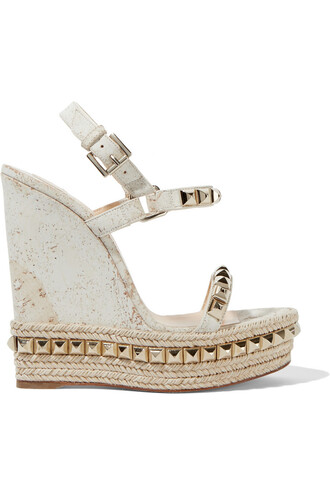 embellished sandals wedge sandals white off-white neutral shoes