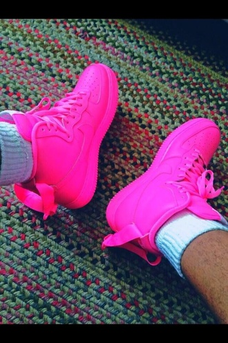 shoes nike air force 1 nike sneakers all pink hot pink pink pink nike shoes pink air force 1 pink af1 hightop bag nike air force all fuchsia