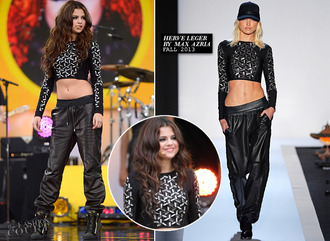 tank top black sparkle leather leather pants leather tant top selena gomez herve leger fall 2013 fashion show concert hair hat sexy short beautiful cool max azria shoes silver body come & get it hippie