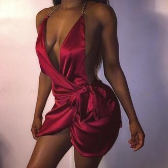 dress red dress silk dress red silk dress chain dress