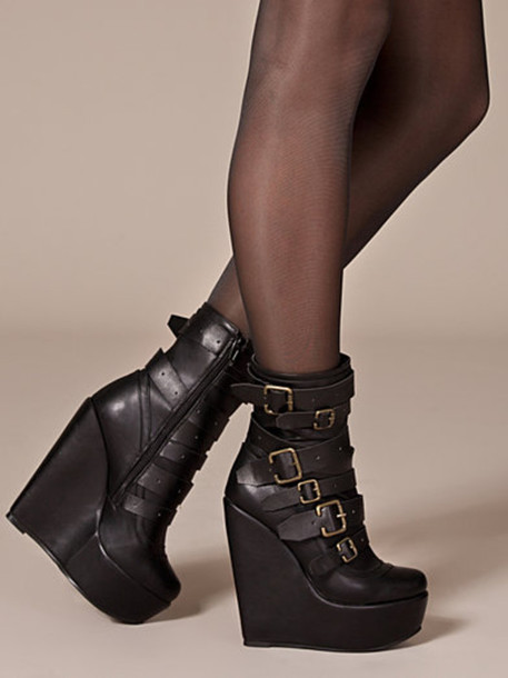 shoes buckled boots buckles wedges black wedges strappy nelly.com
