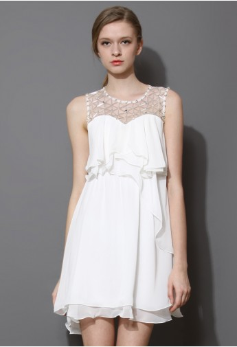Pixie Embellished Frilling Chiffon Dress in White  - Retro, Indie and Unique Fashion