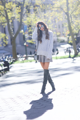 something navy blogger skirt sweater shoes sunglasses bag oversized sweater turtleneck sweater grey boots all grey everything over the knee boots