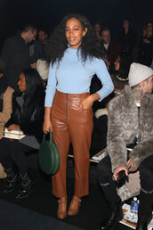pants,top,turtleneck,purse,fashion week 2016,NY Fashion Week 2016,solange knowles,le fashion image,blogger,sweater,bag