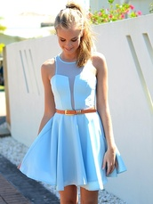 dress,clothes,blue,pretty,blue dress,v neck dress,light blue,summer dress,baby blue,beautiful,white,skater dress,mesh,flare,classy,cute,hipster,belt,casual,dressy,lovely,baby bue