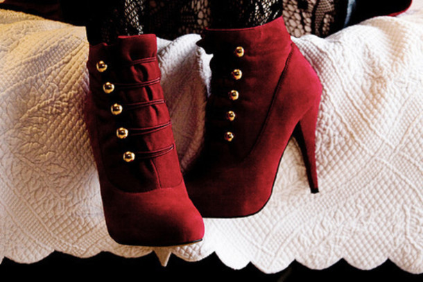 shoes high heels red boots burgundy