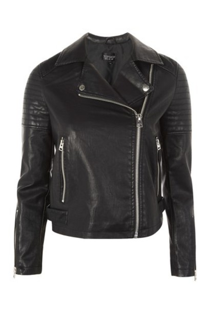 Topshop jacket biker jacket leather black