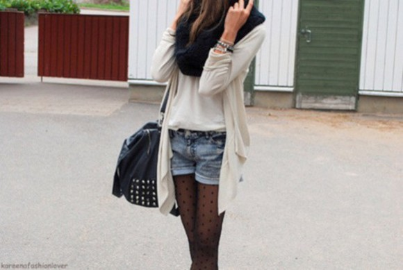 stockings black scarf scarf backpack shorts background cardigan