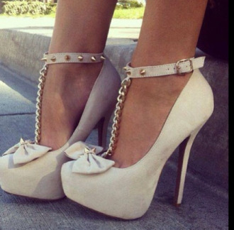 shoes pumps chain bow platform shoes heels