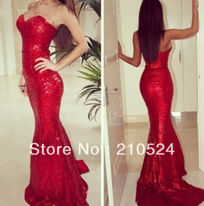 2014 New Arrival Sexy Red Sweetheart Sheath Mermaid Zipper Back Red Sequin Lace Prom Dresses Customize-in Prom Dresses from Apparel & Accessories on Aliexpress.com