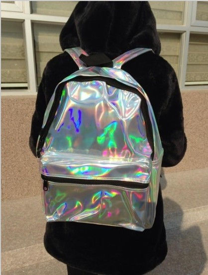 Fashion Hologram Holographic Silver Laser Leather School Backpack Tote Bag RARE | eBay