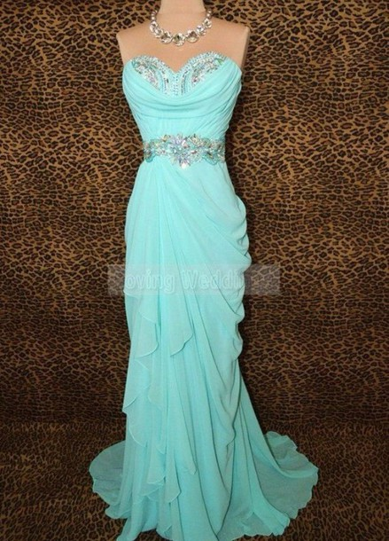dress light blue chiffon mermaid