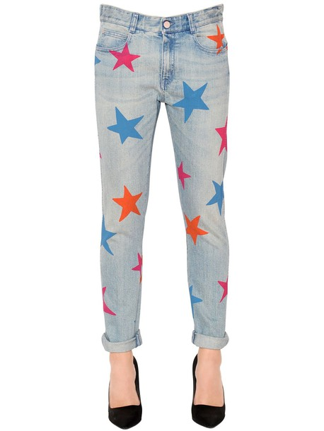 STELLA MCCARTNEY Skinny Boyfriend Stars Denim Jeans in blue / multi