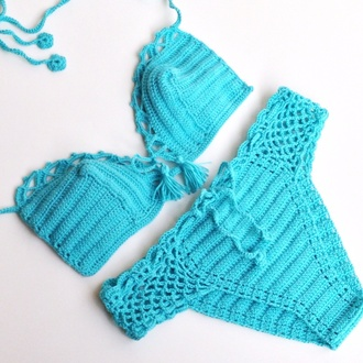 swimwear women swimsuits crochet bikini bikini bikini top bikini bottoms beach style summer top 2015 summer festival cover up bathingsuits brazilian bikini cheeky bikini/underwear turquoise blue swimwear