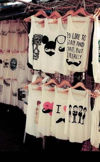 t-shirt white black mustache tank top the beatles quote on it